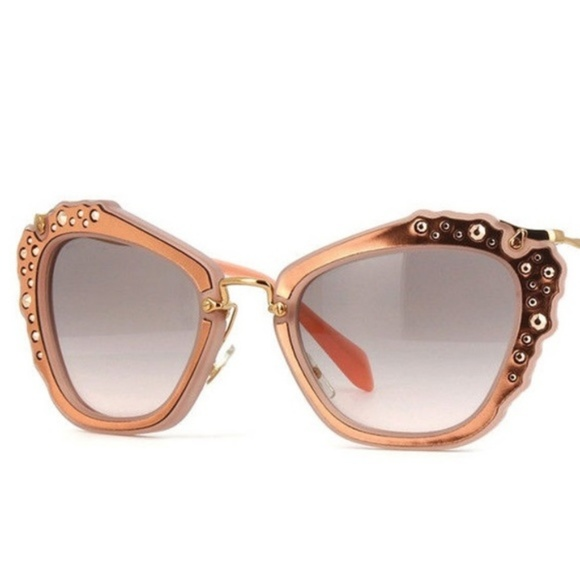 aeaf6815970c Miu Miu Sunglasses Cat eye Rose Gold Rhinestones